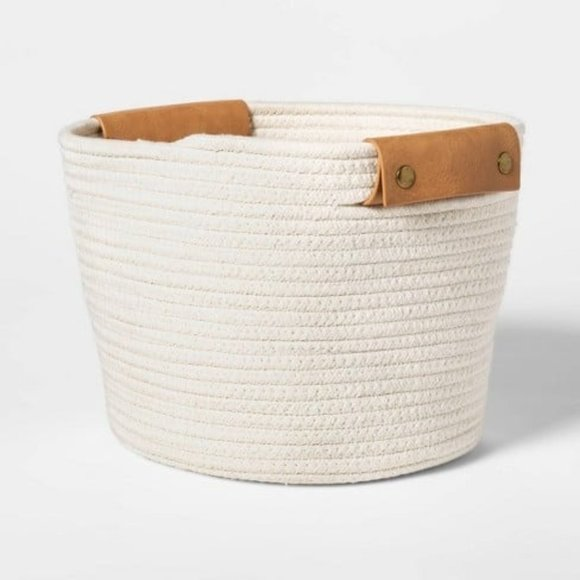(Set of 2) Decorative Coiled Rope Square Baskets
